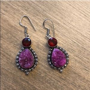 Pink Druzy and Red Rhinestone 925 Silver Earrings